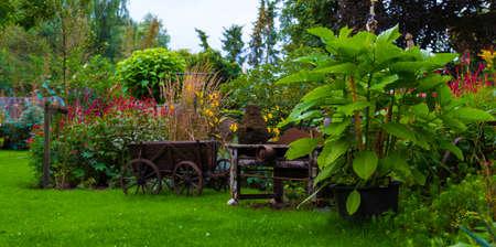 big english garden with green grass