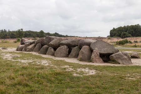 Old stone grave like a big dolmen in Drenthe Holland