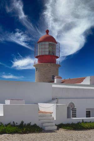 lighthouse of sagres in south portugal Foto de archivo
