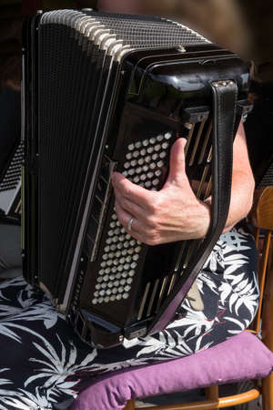 music concert with a woman playing the accordion instrument Foto de archivo