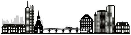 illustration of bases city skyline