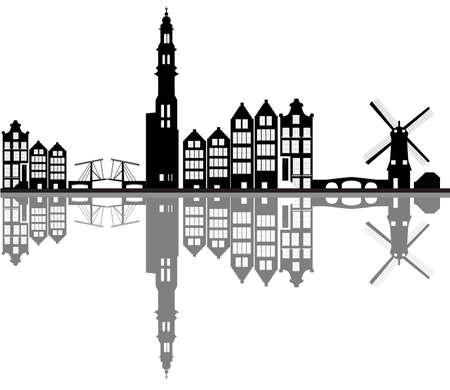amsterdam city skyline Vectores