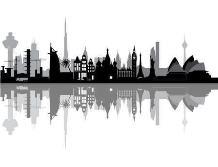 illustration world city skyline Vectores