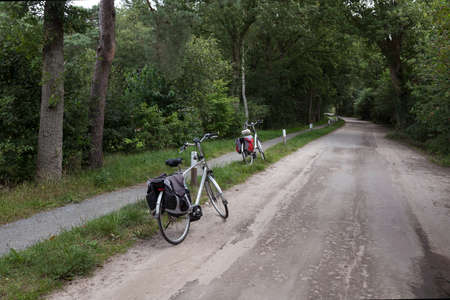 two bikes during a cycling break in the forest