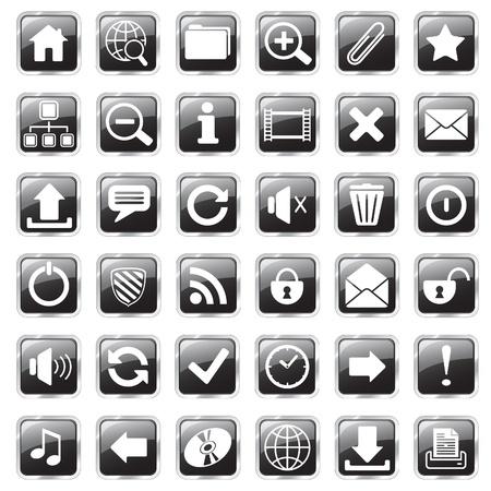 Ensemble d'icônes carrées brillantes vecteur web Banque d'images - 9515414