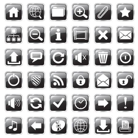 set of glossy square vector web icons photo
