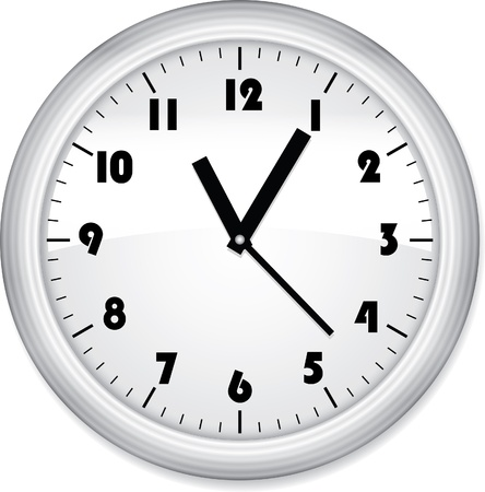 12 hour: Grey office clock isolated on white