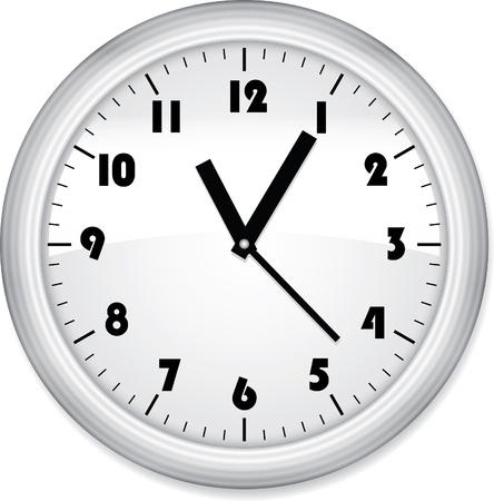 orologio da parete: Ufficio orologio grigio isolato su bianco Vettoriali