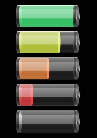 set of glossy glass batteries isolated on black background