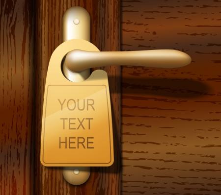 cerrar la puerta: ejemplo de aviso en la puerta en el mango de la puerta de madera