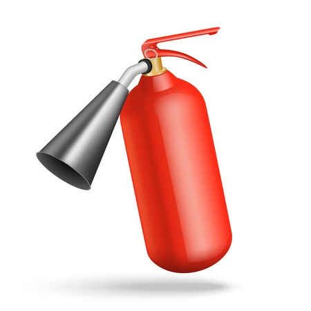 fire extinguisher: illustration of red fire extinguisher isolated on white