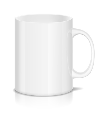 illustration of white cup isolated on white   Иллюстрация