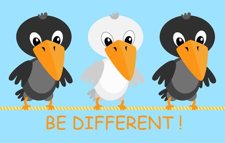 be different:  illustration of two black and one white cartoon crows. Be different concept.