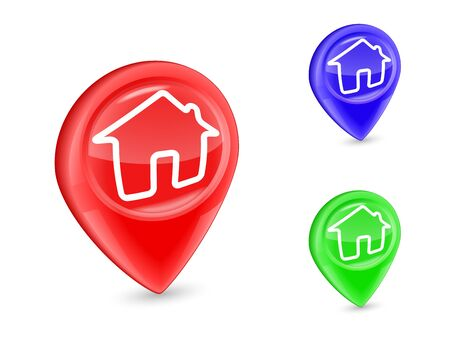 GPS marker Home Icon Pin Deal isolated on white.