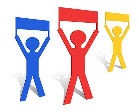 Paper origami men holding banners.  Illustration