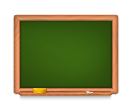 illustration of blank School Board with shalks and sponge.