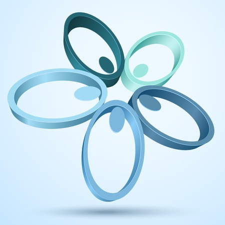 Abstract 3D flower icon   Illustration