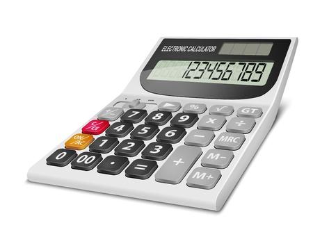 Realistische elektronische rekenmachine geïsoleerd op witte achtergrond Vector illustratie EPS10