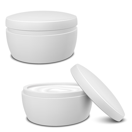Realistic White Cosmetic Cream Container  Vector illustration EPS10  Иллюстрация