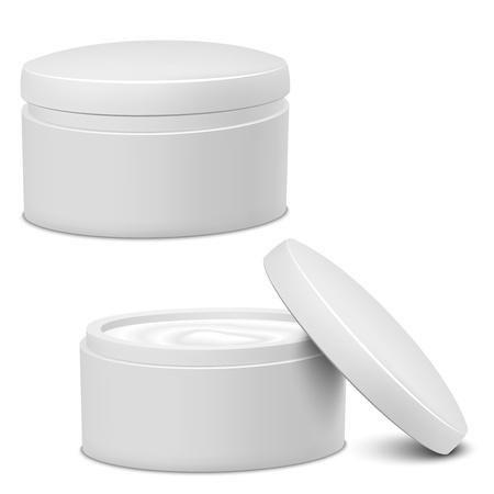 Realistic White Cosmetic Cream Container  Vector illustration EPS10  Illustration