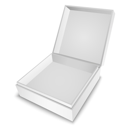 Open white gift box with cover isolated on white  Vector illustration EPS10