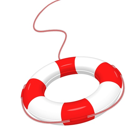 Vector illustration of white red Lifebuoy isolated on white   EPS10  Иллюстрация