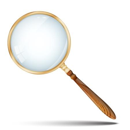 Loupe, Loupe rétro avec manche en bois et Rim or isolé sur fond illustration vectorielle 10 couche de verre EPS est semi-transparent pour la personnalisation facile de fond Banque d'images - 21729256