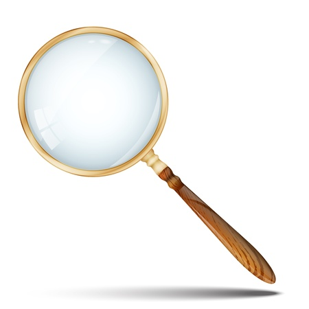 Magnifying Glass, Retro Magnifier With Wooden Handle and Golden Rim Isolated On White Background  Vector illustration EPS 10  Glass layer is semi-transparent for easy customizing of background  Illustration