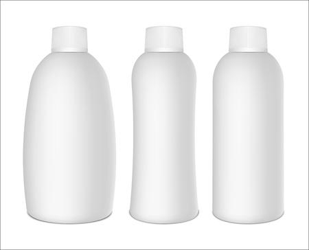 Set of white plastic bottles isolated on white background  Vector illustration EPS10