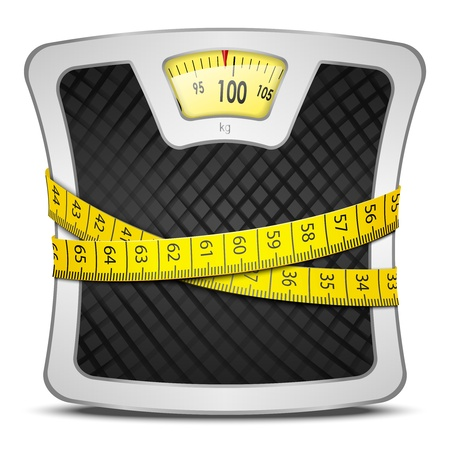 healt: Measuring tape wrapped around bathroom scales  Concept of weight loss, diet, healthy lifestyle  Vector illustration EPS10  Illustration