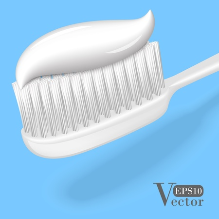 White toothbrush with toothpaste  isolated on blue background  Vector illustration EPS10