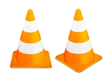 Traffic Cones isolated on white background  Vector illustration EPS 10