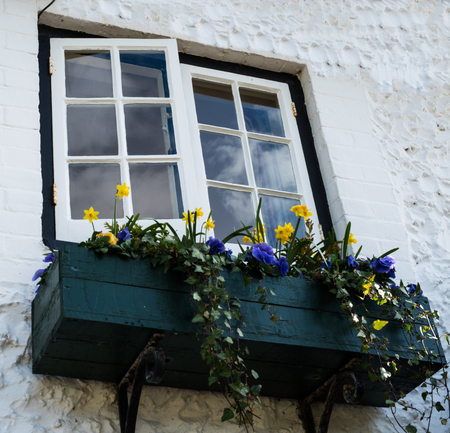 Window with flower box Stock Photo