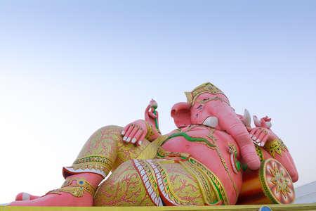 siddhivinayaka: Pink Ganesha Statue at Saman Rattanaram Temple, Chachoengsao Province, Thailand Stock Photo