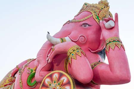 chachoengsao: Pink Ganesha Statue at Saman Rattanaram Temple, Chachoengsao Province, Thailand