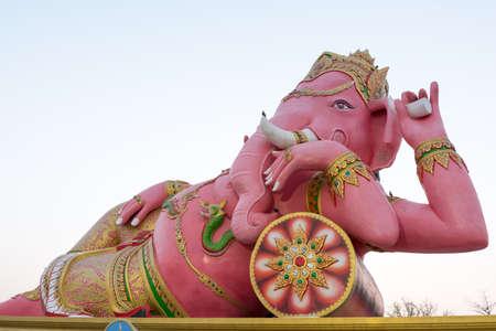 siddhivinayaka: Pink Ganesha Statue at Saman Rattanaram Temple, Chachoengsao Province, Thailand