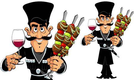 Blanke man met barbecue en wijn Stock Illustratie