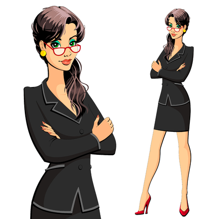 A woman in a business suit. Secretary, manager, lawyer, accountant or clerk. Ilustrace