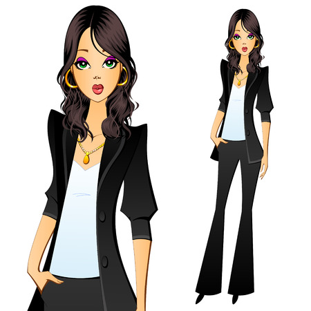 pantsuit: Girl in a pantsuit. Secretary, manager, lawyer, accountant or clerk. Illustration