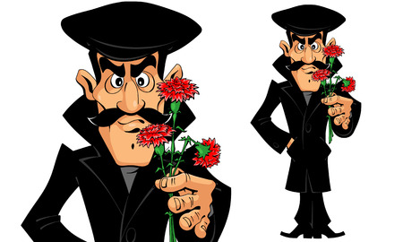 the caucasian: Caucasian Man with Flowers on a Date Illustration