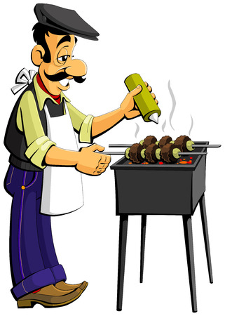 caucasian man: Caucasian man prepares kebabs on the grill