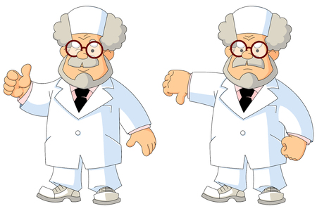 Cartoon wise old doctor. Gestures and emotions.