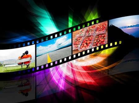 strippen film en er is een kleurrijke zwarte achtergrond
