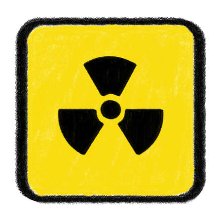 radioactive sign: radioactive sign drawn with chalk Stock Photo