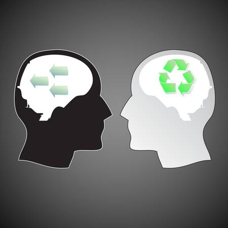two human heads with different ideas Vector
