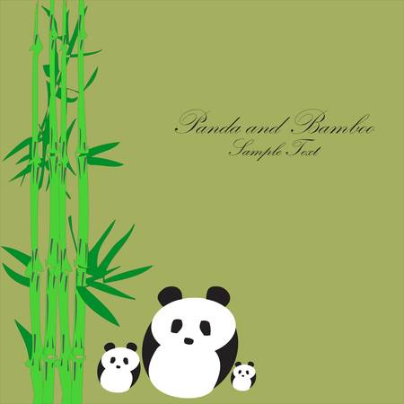 Panda with Bamboo background Illustration