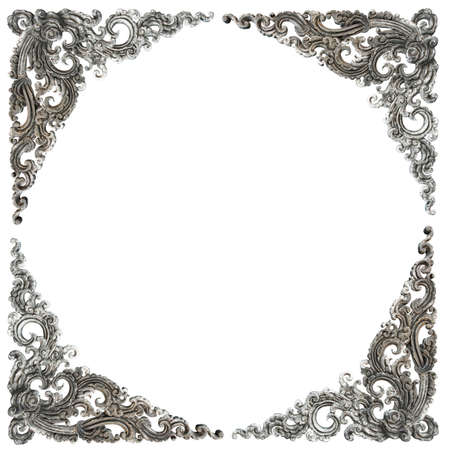Pattern of frame carved wall sculpture on white background photo
