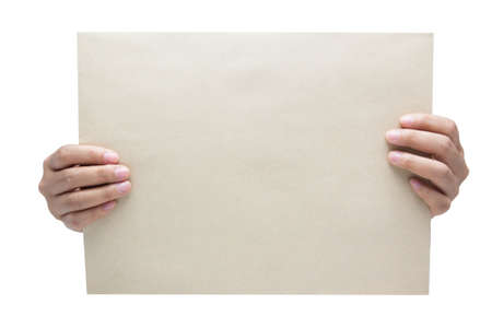 hand holding blank paper isolated on white background Stock Photo