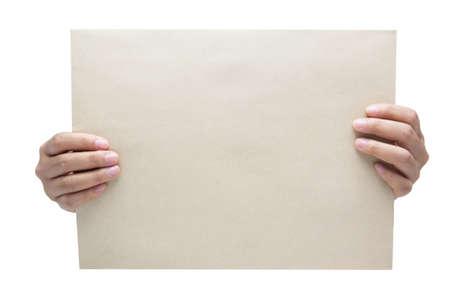 Hand holding blank Papier isoliert auf wei?em Hintergrund Lizenzfreie Bilder