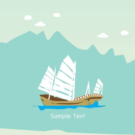 barque: Cartoon Barque boat on blue mountain background,  illustration
